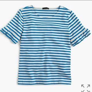 J.CREW Ruffle Sleeve Tee in Royal Blue Stripe M